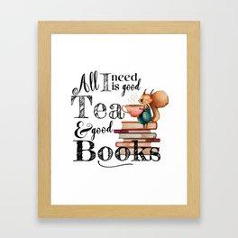Tea & Books Framed Art Print