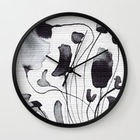 yetiland Wall Clocks featuring ink flowers by Georgiana Paraschiv