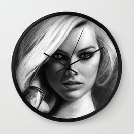 Margot Robbie Pencil Sketch Wall Clock