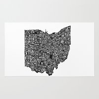 ohio state Area & Throw Rugs featuring Typographic Ohio by CAPow!