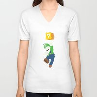 luigi V-neck T-shirts featuring Luigi Paint by The Daily Robot