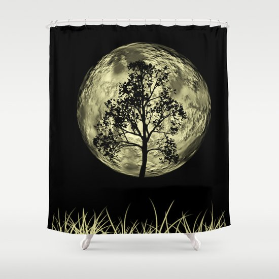 Moon and Black Tree Shower Curtain