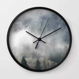 Limitless - Foggy Forest Nature Photography Wall Clock