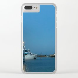 Pretty blue sky and boats at Nelsons Bay, NSW, Australia Clear iPhone Case