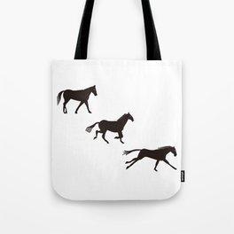 a horse runs Tote Bag