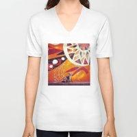 artsy V-neck T-shirts featuring Artsy Dog by Coconuts & Shrimps