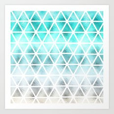 Teal blue ombre geometric triangles pattern  Art Print