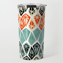 Abstract geometric hand painted red black teal diamond shapes Travel Mug