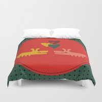 dogs Duvet Covers featuring dogs by ValoValo