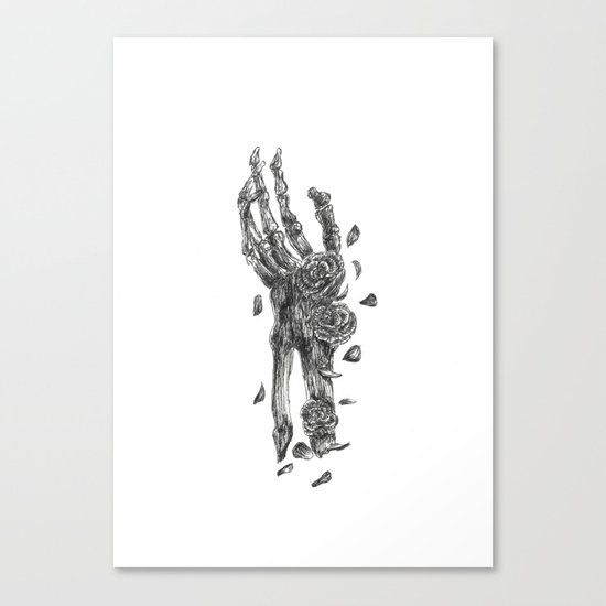 Skeleton Hand Embellished With Flowers Black and White Canvas Print
