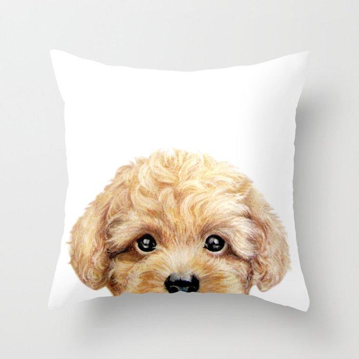 Toy poodle Dog illustration original painting print Throw Pillow