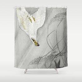 Hawk hunting its prey - Japanese vintage woodblock print Shower Curtain
