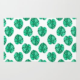 Monstera house plant leaf green painting pattern trendy hipster indoor house plant tropical garden   Rug