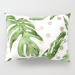 Simply Tropical White Gold Sands Dots and Palm Leaves Pillow Sham