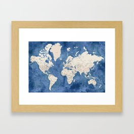 Light brown and blue watercolor detailed world map Framed Art Print