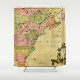 Map of North America by Kitchin, Mitchell and Millar (1755) Shower Curtain