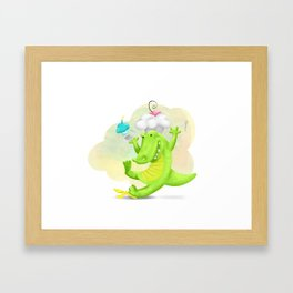 Slippery gator Framed Art Print