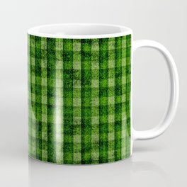 Forest Green and Lime Velvety Gingham Faux Suede Coffee Mug