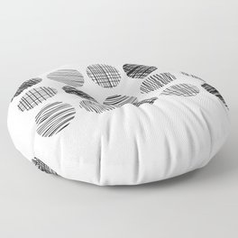 Abstract Lines Circles in Black and White Floor Pillow