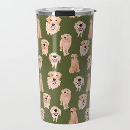 Golden Retriever on Green Travel Mug