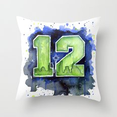 12th Man Seahawks Seattle Go Hawks Art Throw Pillow