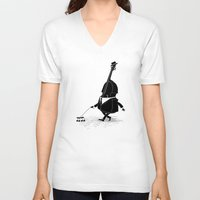 bass V-neck T-shirts featuring Walking Bass by Triagus