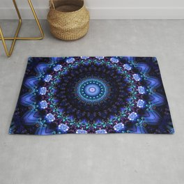 Cerulean Night Jewel Mandala Rug
