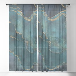 Golden Gemstone Glamour Mineral Sheer Curtain