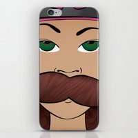 roller derby iPhone & iPod Skins featuring Stache Bash Roller Derby by Stormy Sea Studio