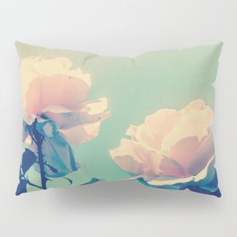 Soft Baby Pink Roses with Mint Blue Sky Backgroud Pillow Sham