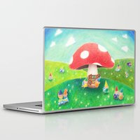 library Laptop & iPad Skins featuring Mushroom library by ah li