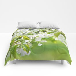 White cherry blossoms romance Comforters