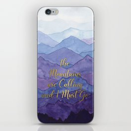 Blue Watercolor Mountains Calling iPhone Skin