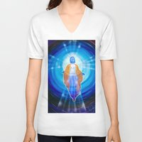 jesus V-neck T-shirts featuring Jesus by Walter Zettl