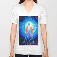 jesus V-neck T-shirts featuring Jesus by Walter Zettl