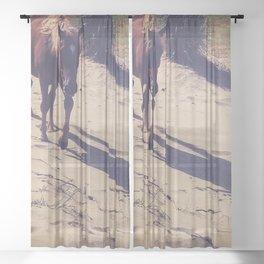 horse on the beach Sheer Curtain