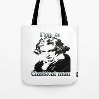 beethoven Tote Bags featuring Beethoven by Stitched up designs