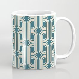 Vintage tangled squares and diamonds pattern teal Coffee Mug