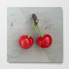 Twin Cherries Metal Print