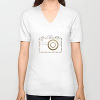 vintage camera V-neck T-shirts featuring Camera by Little Owl Oddities