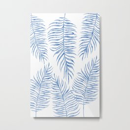 Fern Pattern Blue Metal Print