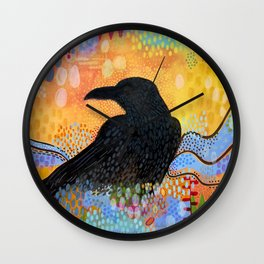 Summer Raven 2 Wall Clock