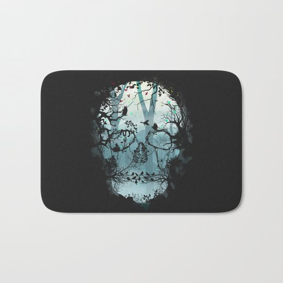 Dark Forest Skull Bath Mat