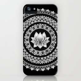 Black and White Lotus Mandala iPhone Case