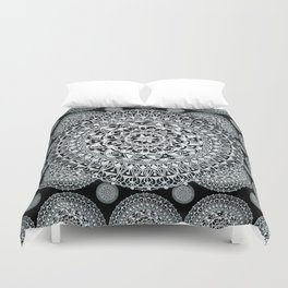 Silver on Black Patterned Mandalas Duvet Cover