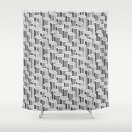 Hexagonal Columns in Grey Shower Curtain