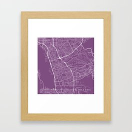 Chula Vista Map, USA - Purple Framed Art Print