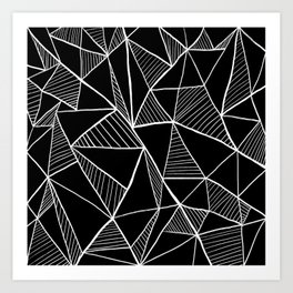 Black and white pyramid pattern Art Print