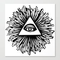 all seeing eye Canvas Prints featuring All seeing camera eye by dsimpson