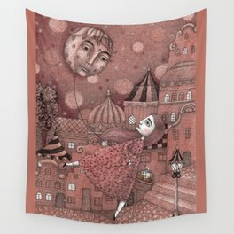Strawberry Moon in June Wall Tapestry